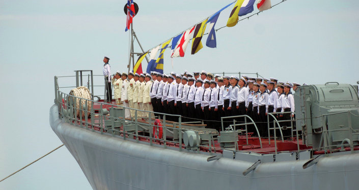 Servicemen of the Black Sea Fleet during Navy Day parade rehearsal in Sevastopol