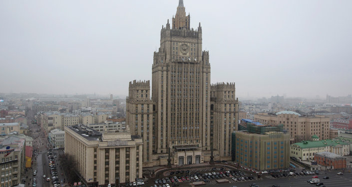 View of the Russian Foreign Ministry building in Moscow, Russia, Sunday, March 1, 2015