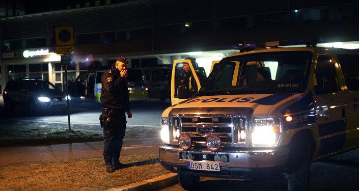 A police officer in Gothenburg, Sweden, March 18, 2015