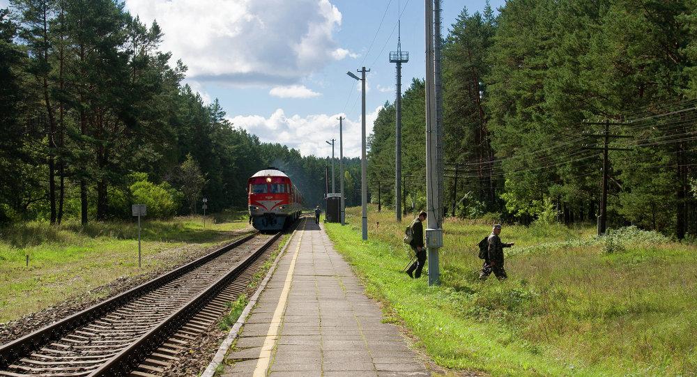 Train in  Sventniki, Vilnius County, Lithuania