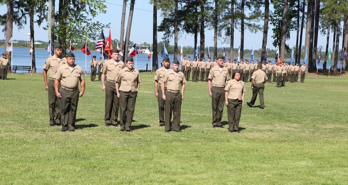 US Marine Parade staff stand at the position of attention at Camp Johnson, NC.