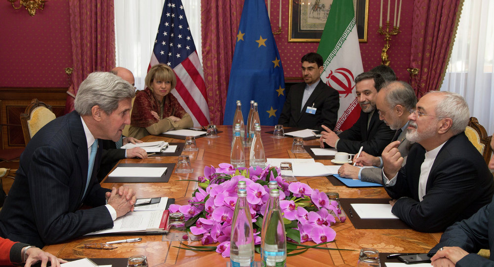 U.S. Secretary of State John Kerry holds a meeting with Iran's Foreign Minister Mohammad Javad Zarif over Iran's nuclear program, in Lausanne, Switzerland, Wednesday March 18.