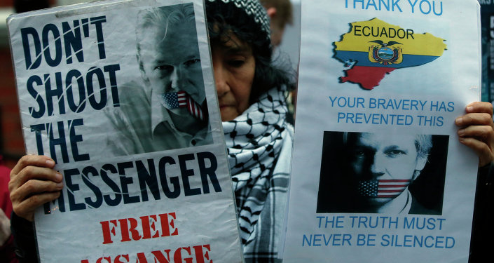 A demonstrator holds up placards as she protests outside the Ecuadorian Embassy in London.