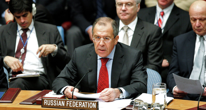 Russian Foreign Minister Sergei Lavrov addressing a meeting of the UN Security Council in New York