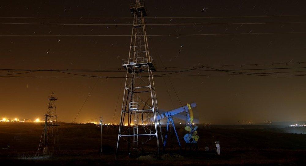 An oil pump at work near Ploiesti, Romania.