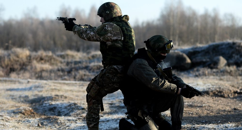 Special Rapid Response Unit personnel practice before going on a mission in Dagestan