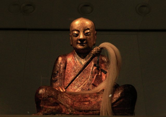 A Buddha statue is displayed at the Natural History Museum in Budapest