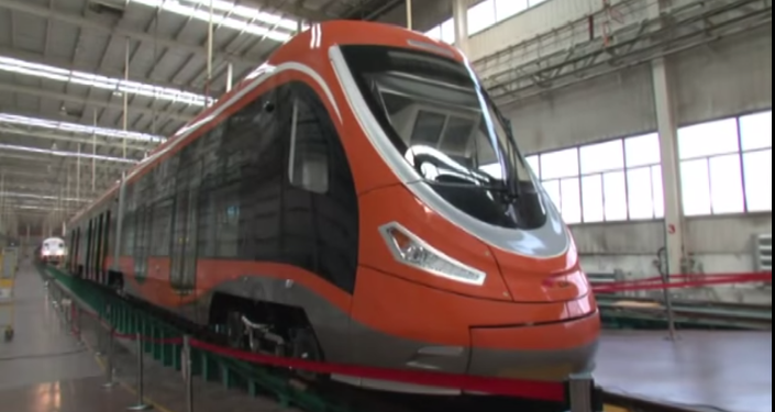 The tram made its debut in the Chinese city of Qingdao last week, and is expected to hit the streets of China later this year.