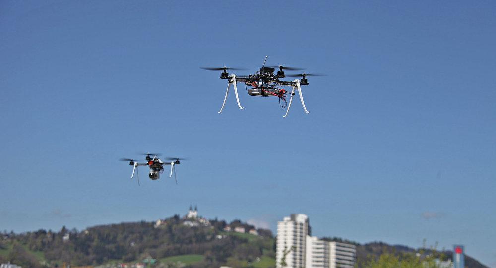 Drones performing surveillance tasks.