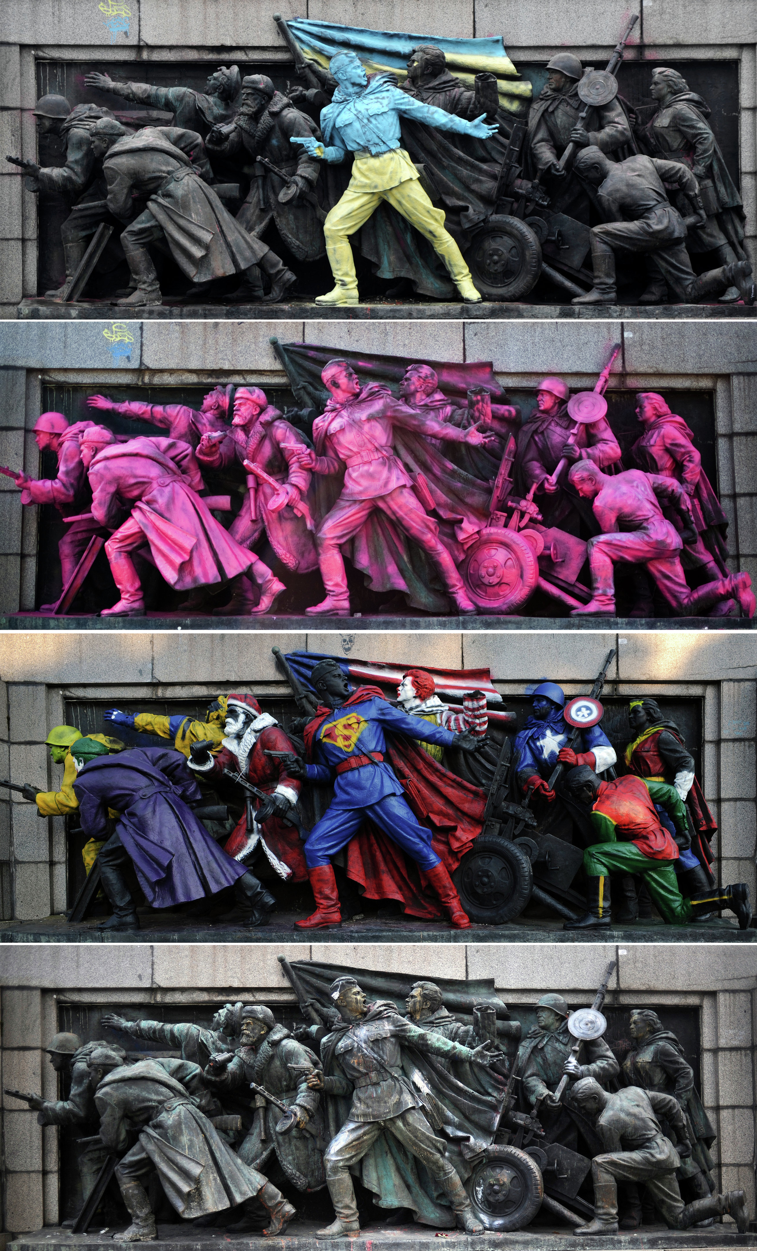 A combo picture taken in Sofia, on February 23, 2014 (top) on August 21, 2013 (second from top), on June 17, 2011 (center) and March 15, 2012 shows the figures of Soviet soldiers at the base of the Soviet Army monument, painted by an unknown artist and the same monument after it was cleaned