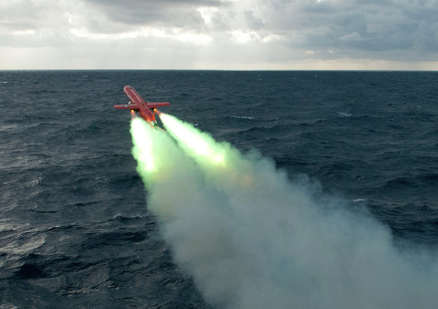 Drone launches at sea.
