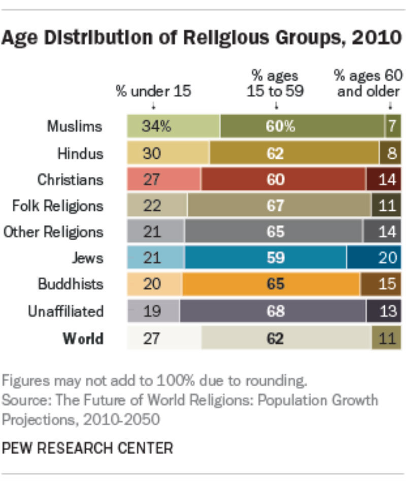 An approximation of the distribution of religious faiths and their age groups.