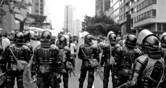 Policemen in San Bernardo, Bogota, Colombia