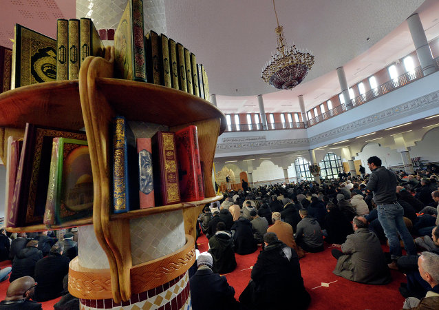 Muslim people take part in the Friday prayer at the Assalam mosque on January 23, 2015 in the western French city of Nantes