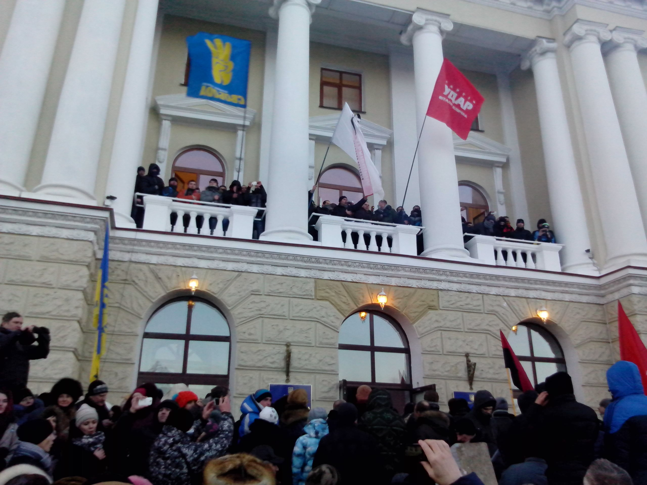 Euromaydan in Khmelnitsky. January 24, 2014. The protesters, who occupied Khmelnytsky Regional Council