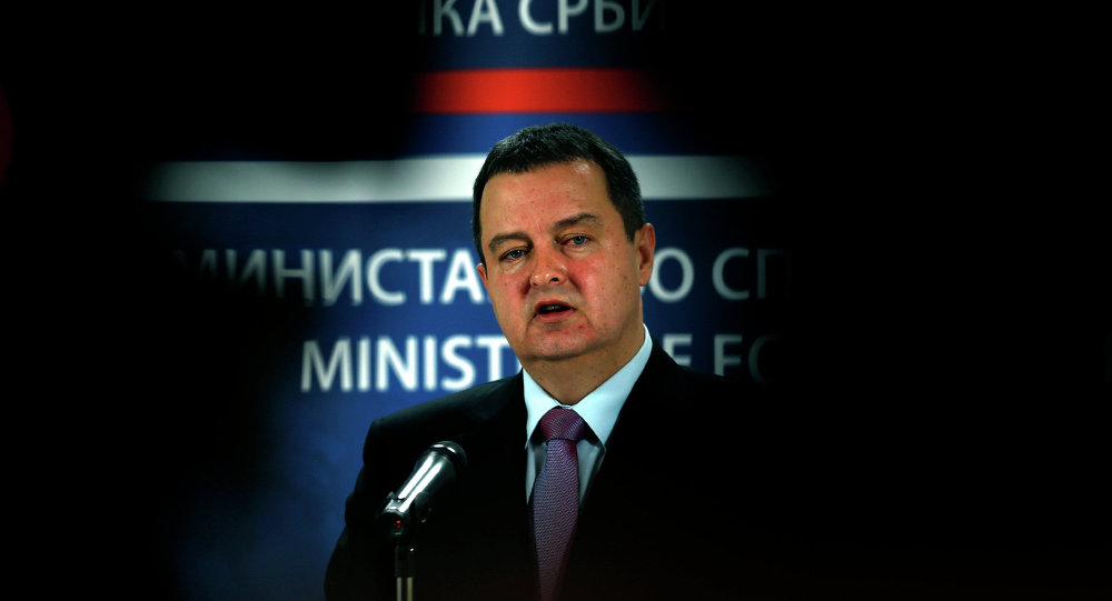 Serbia's Minister for Foreign Affairs and Organization for Security and Co-operation in Europe (OSCE) Chairperson-in-office for 2015 Ivica Dacic speaks during a press conference in Belgrade, Serbia, Sunday, Feb. 1, 2015