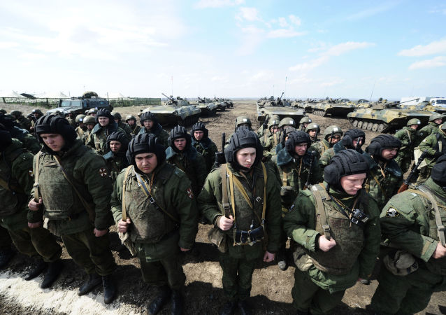 Servicemen of the Internal Troops of the Russian Ministry of Internal Affairs at a training ground in Rostov region, southern Russia.