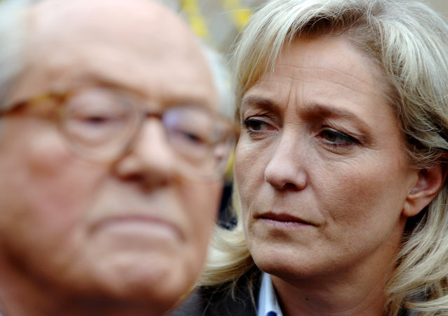 Marine Le Pen (right) and her father Jean-Marie Le Pen