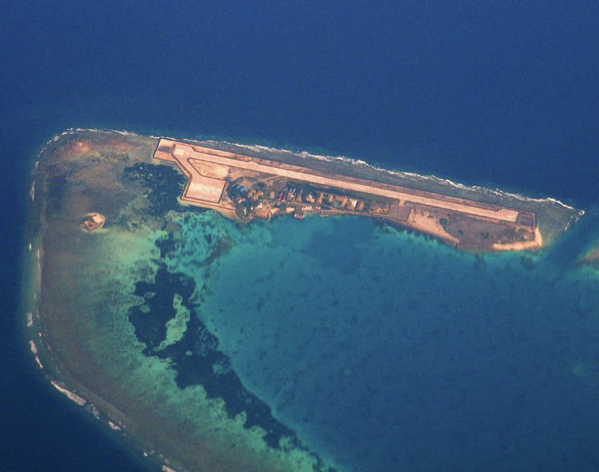 This island is near or part of Spartlys group of islands, currently being disputed by several countries, including China, Vietnam, the Philppines, and Malaysia.