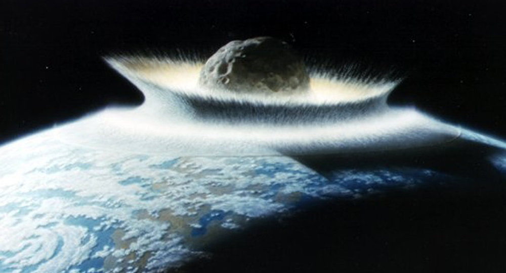 An artist's impression of the asteroid that killed the dinosaurs.