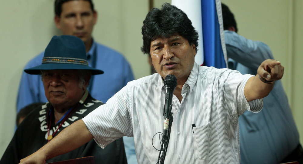 Bolivia's President Evo Morales delivers a speech to delegates at the People's Summit, in Panama City, Friday, April 10, 2015