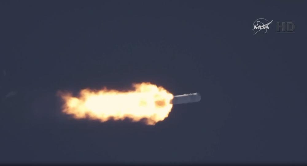 This screenshot shows the SpaceX unmanned Falcon 9 rocket shortly after it was launched from Florida's Cape Canaveral on Tuesday.
