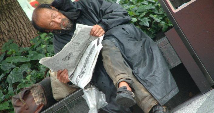 Homeless man in Tokyo