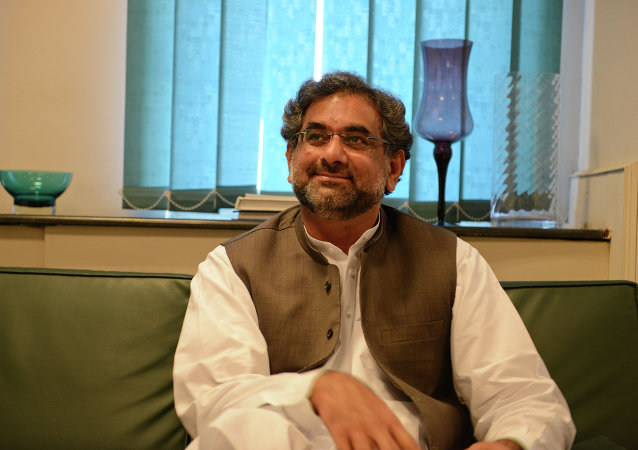 Pakistani oil and natural resources minister Shahid Khaqan Abbasi talks with media representatives at his office in Islamabad