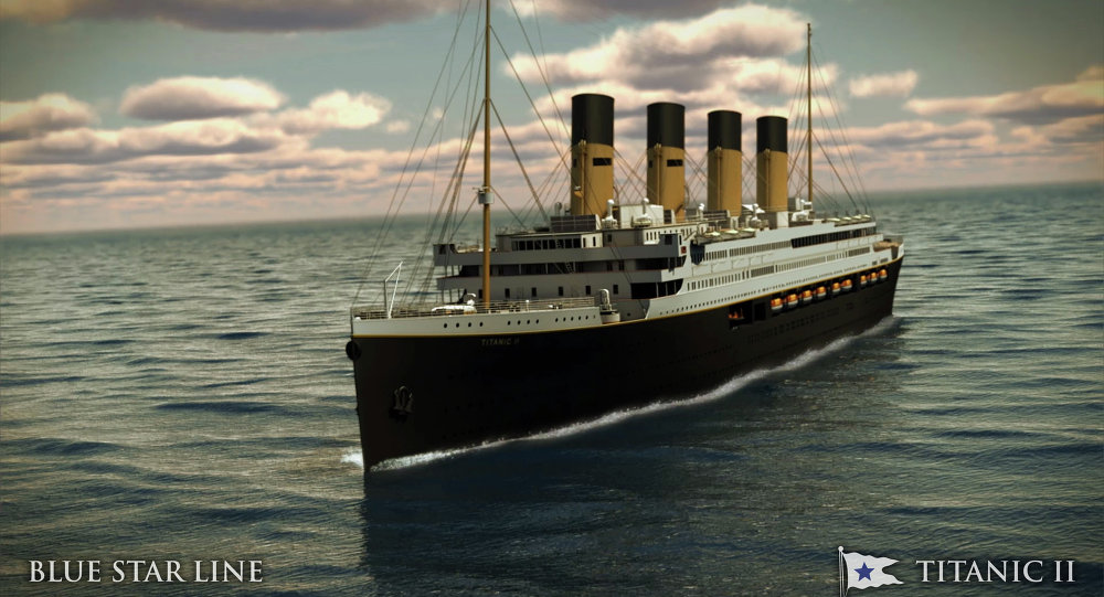 In this rendering provided by Blue Star Line, the Titanic II is shown cruising at sea. The ship, which Australian billionaire Clive Palmer is planning to build in China, is scheduled to sail in 2016