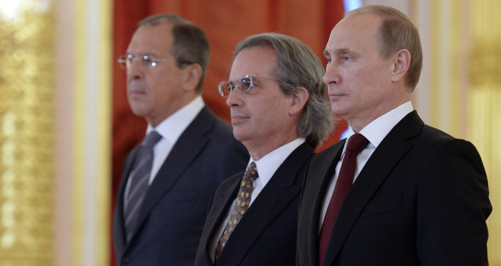 From right: Russian President Vladimir Putin, Ambassador of the Argentine Republic Pablo Anselmo Tettamanti, and Russian Foreign Affairs Minister Sergei Lavrov