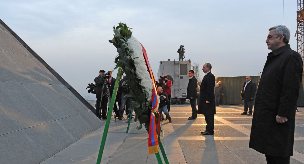 December 2, 2013. From right: Armenian President Serzh Sargsyan and Russian President Vladimir Putin during the wreath laying ceremony at the Memorial to the Ottoman Empire's 1915 Armenian Genocide in Yerevan.
