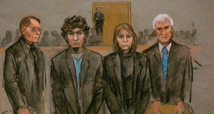 A courtroom sketch shows Boston Marathon bombing suspect Dzhokhar Tsarnaev (2nd L) and his defense team as the verdict is read at the federal courthouse in Boston, Massachusetts April 8, 2015