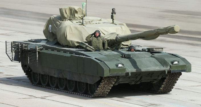 Main battle tank on a heavy tracked vehicle platform Armata at the May 9 Victory Parade rehearsal in Moscow region.