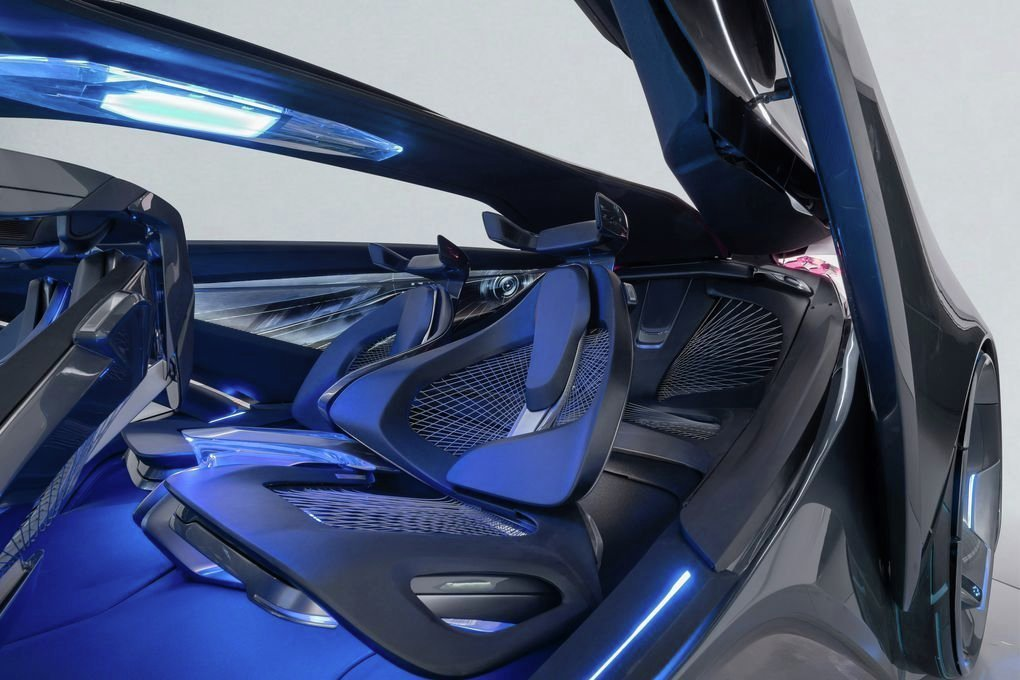 The seats of the FNR will detect things like passengers' heart rates and temperature to adjust the heating and cooling. They're also lightweight and futuristic, assuming that in the future no one will want headrests.