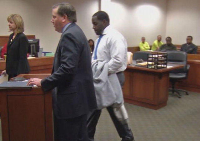 Former Kentucky school resource officer Jonathan Hardin, far right, appears in court.