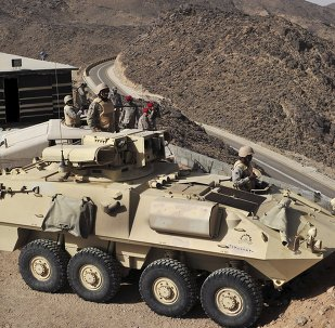 Saudi army are seen deployed along the Saudi border with Yemen