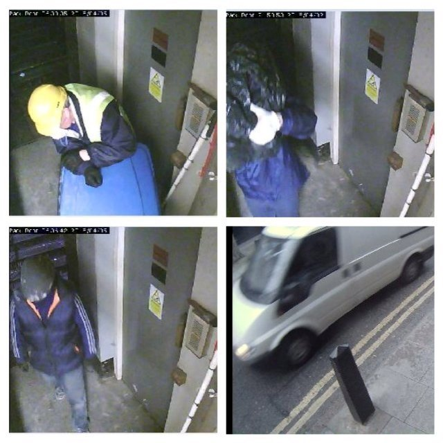 A combination of images from closed circuit television shows the robbery at Hatton Garden Safety Deposit Ltd.