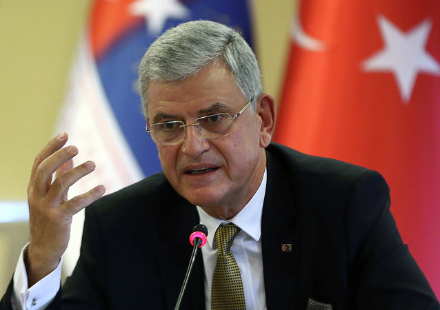 Turkey's EU Affairs Minister and Chief Negociator,Volkan Bozkir, speaks during a press conference in Ankara, October 30, 2014