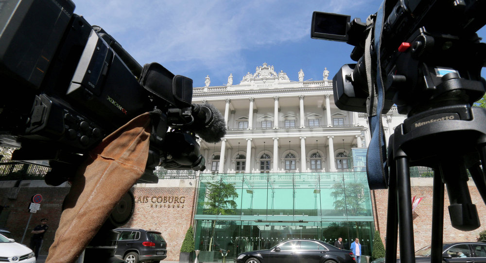Cameras stand in front of a luxury downtown hotel, where closed-door nuclear talks with Iran take place, in Vienna, Austria