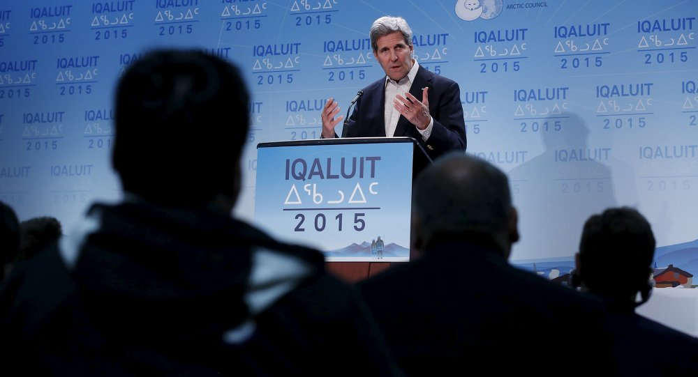 U.S. Secretary of State John Kerry speaks during a news conference at the Arctic Council ministerial meeting in Iqaluit, Nunavut