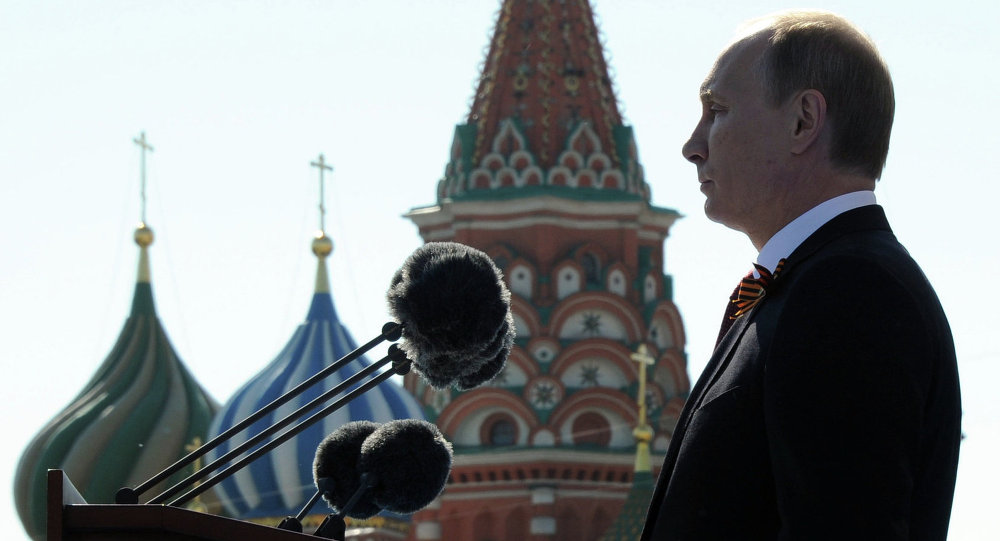 Vladimir Putin and Dmitry Medvedev at Victory Day parade on Red Square