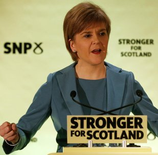 Nicola Sturgeon, the leader of the Scottish National Party, gestures as she delivers a keynote election speech in Glasgow, Britain April 29, 2015