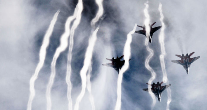 MiG-29 fighter jets from the Strizhi (Swifts) aerobatic team at the Kubinka airfield