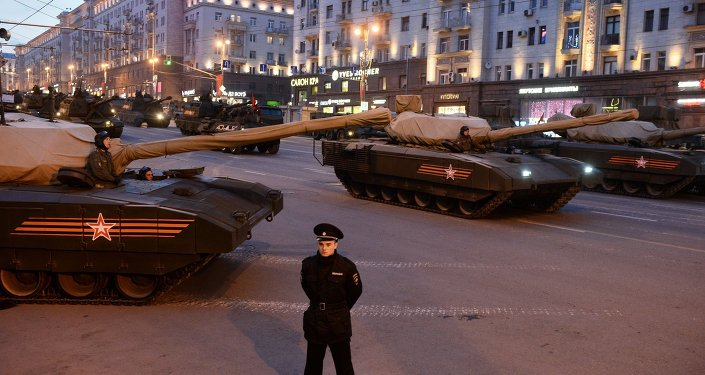 The Armata T-14 tank during the rehearsal of the Victory Day Parade on Moscow's Tverskaya Street