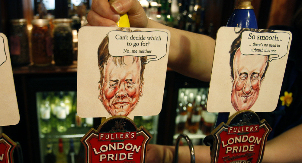Beer pumps in a Westminster pub are coloured and decorated with the British main political party politicians.