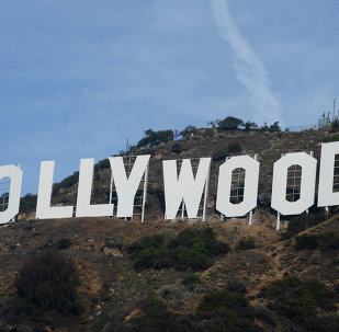 The freshly painted Hollywood sign