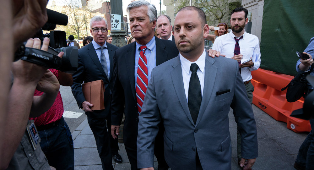New York Senate Majority Leader Dean Skelos and his son Adam leave federal court in New York, Monday, May 4, 2015.