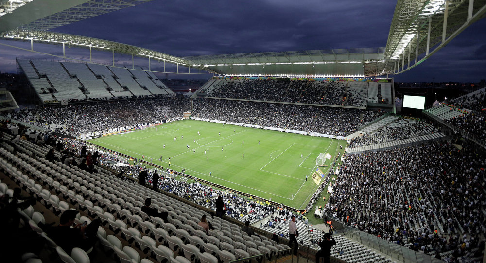 Corinthians and Botafogo players battle it out during a Brazilian soccer league match at the Itaquerao Stadium in Sao Paulo, Brazil