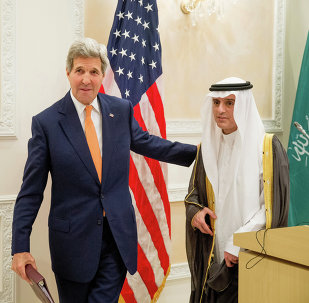 US Secretary of State John Kerry, left, and Saudi Foreign Minister Adel al-Jubeir, right, leave after a joint news conference at Riyadh Air Base in Saudi Arabia, Thursday, May 7, 2015