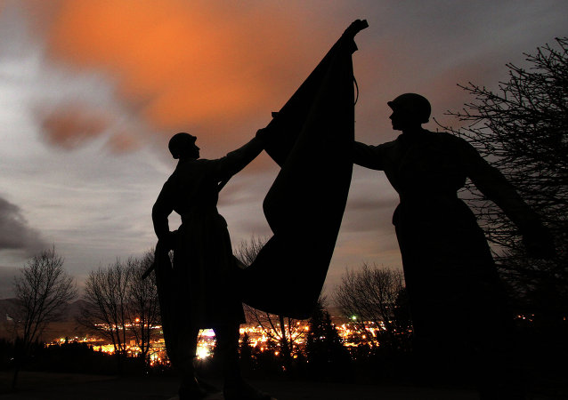 Statues of soldiers at the Haj Nicovo Soviet Red Army cemetery and memorial on the outskirts of the Slovakian town of Liptovsky Mikulas
